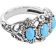 Carolyn Pollack Sterling Sleeping Beauty 3-Stone Band Ring - J380298