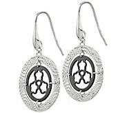 Italian Silver Textured Disk Dangle Earrings - J382998