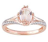 14K 1.15 cttw Morganite & 1/7 cttw Diamond Ring - J392298