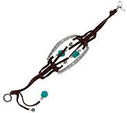 Jennifer Nettles Leather & Sterling Turquoise Bead Bracelet - J324099