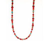 American West 32 Multi-color Sterling Silver Bead Necklace - J335899
