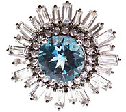 Graziela Gems Round London Blue & White Topaz Ring, Sterling - J337099
