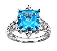 Judith Ripka Sterling Blue Topaz & Diamonique Ring - J340099