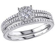Round Cluster Diamond Ring Set, 14K White Gold,by Affinity - J340899