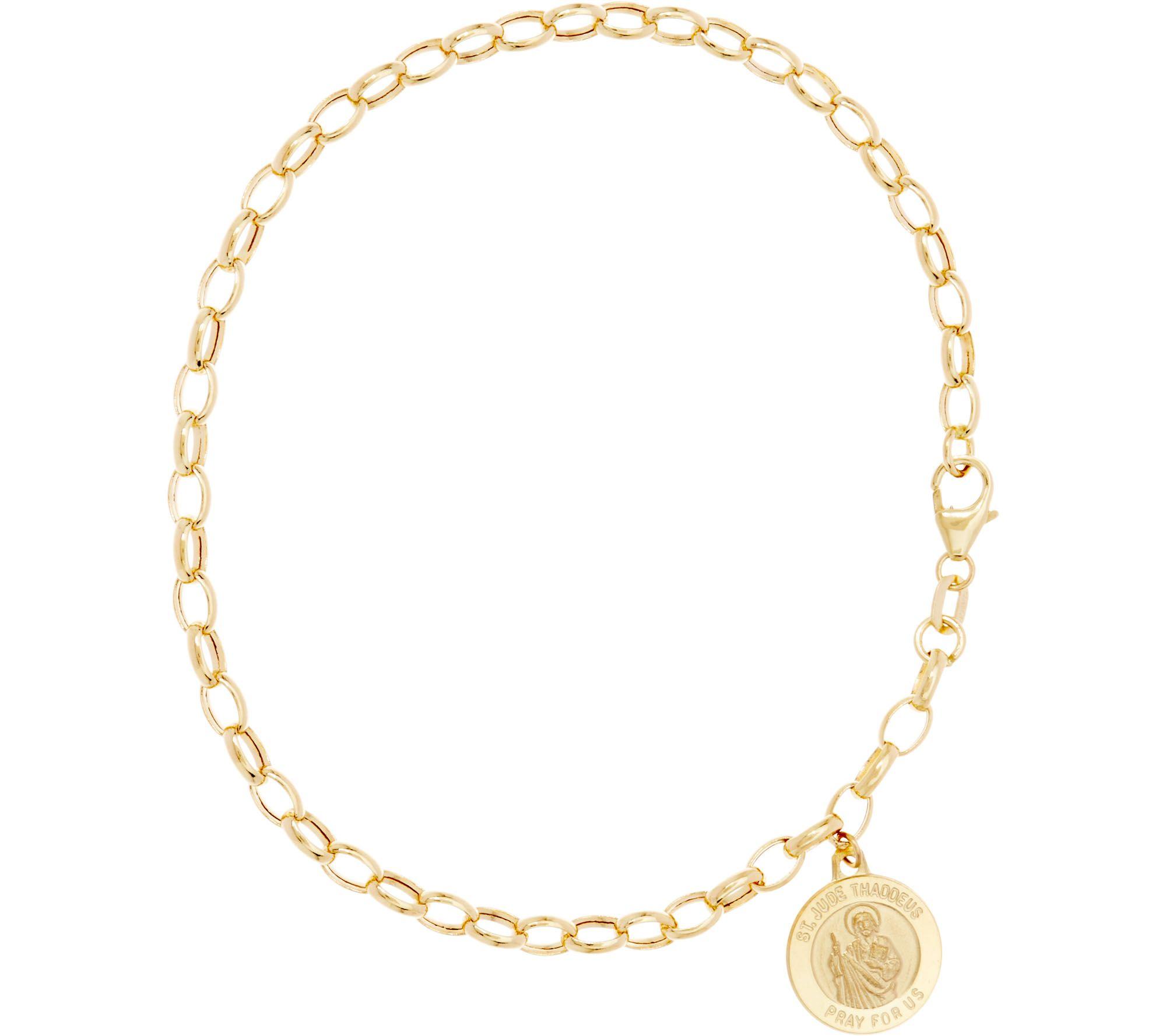 As Is Italian Gold 8 Rolo Link Saint Charm Bracelet 14k 3 1g Qvc