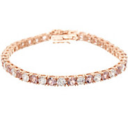 Diamonique and Simulated Morganite Tennis Bracelet 14K Rose Clad - J351299