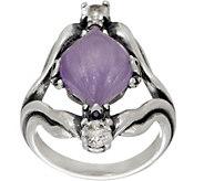 Carolyn Pollack Carved Jade & White Topaz Sterling Silver Ring - J352099
