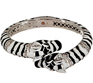 Lauren G Adams Enamel Double Zebra Head Hinged Cuff - J354099