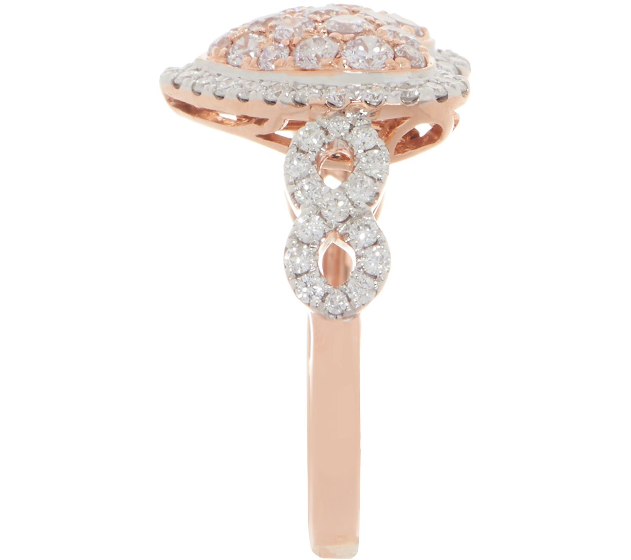 Affinity Diamond Natural Pink Heart Ring, 1 00cttw, 14K — QVC com