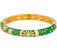 Heritage Jewelry Sun and Flower Hinged Enamel Bangle - J357399