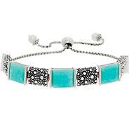 Michael Dawkins Sterling Silver Starry Night Gemstone Adj. Bracelet - J359099
