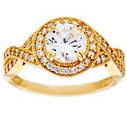 Diamonique Round Twisted Shank Ring, 14K Gold - J384599