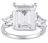 Sterling Silver 8.90 cttw Emerald-Cut White Topaz 3-Stone Ring - J385299
