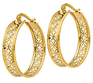 Italian Gold Flower Cut-Out Round Hoop Earrings, 14K - J385599