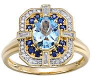 14K Gold 1.00 cttw Aquamarine & 1/5 cttw Diamond Halo Ring - J385799
