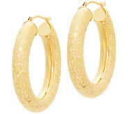 EternaGold 1-3/8 Crystal-Cut Oval Hoop Earrings, 14K Gold - J386199