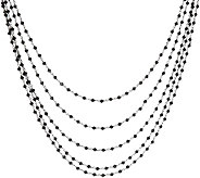 Mistero Sterling Silver Black Spinel Multi-Strand Necklace - J386699