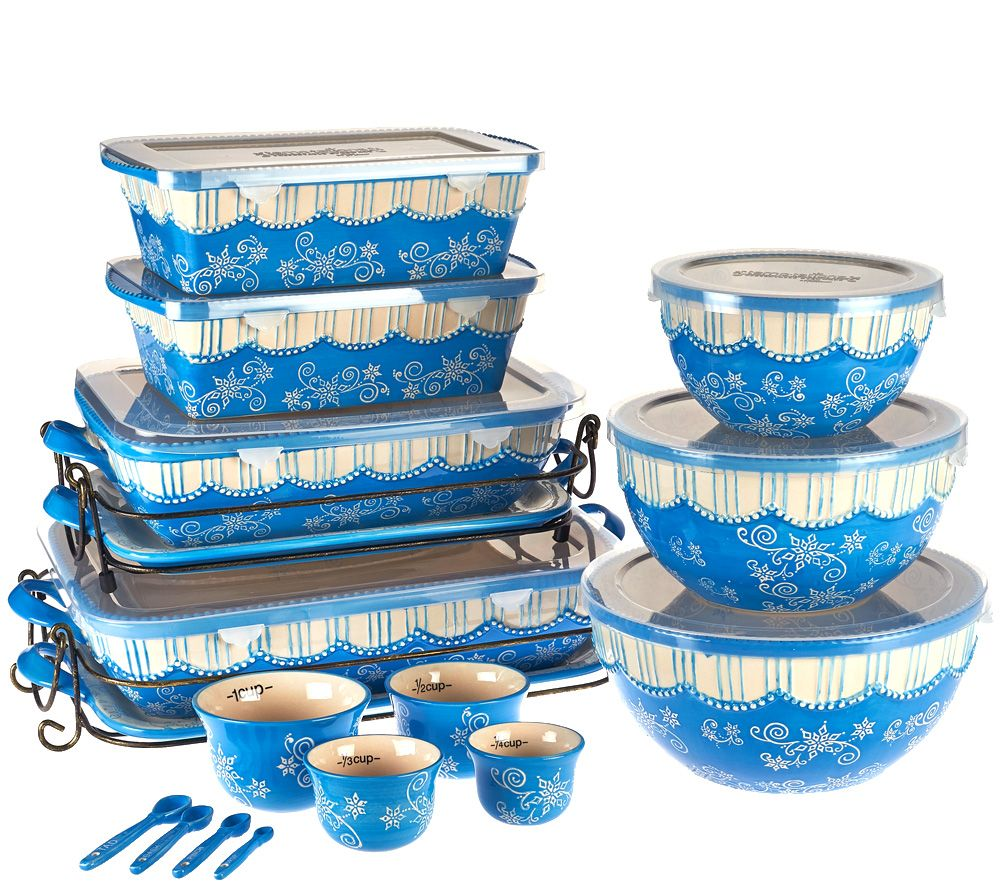 Temp-tations Floral Lace 20-piece Bakeware Set - Page 1 — QVC.com
