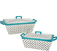 Mr. Food Polka Dot Set of 2 Ceramic Bakers with Lids - K46201