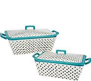 Mr. Food Polka Dot Set of 2 Ceramic Bakers with Lids - K46201