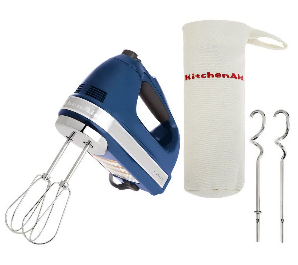 Kitchenaid 721 Series 7 Speed Digital Hand Mixer W Bag Dough Hooks Qvc Com