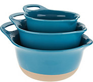 As Is Rachael Ray Set of 3 Dip Glazed Stoneware Mixing Bowls - K308003