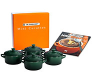 Le Creuset Set of 4 8-oz Cocottes with Cookbook - K297105