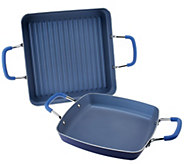 2 Piece ColoredNonstick Square Everyday Pan Set by MarkCharles - K38506