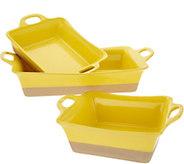 Rachael Ray Set of 3 Dip Glazed Stoneware Baker Set - K46506