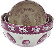 Temp-tations Floral Lace Set of 3 Nesting Bowls - K43907