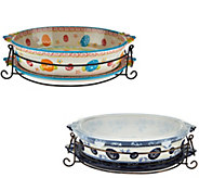 Temp-tations Old World or Floral Lace 3qt Oval Baker with Lid-it - K43910