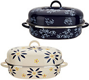 Temp-tations Old World or Floral Lace Oval Covered Roaster w/ Rack - K46214