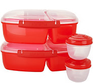 Sistema Set of 2 To-Go Triple Split Containers with 2 Yogurt Pots - K47218