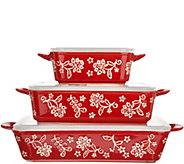 Cooks Essentials Santa Rosa 3-Pc Ceramic Bakers with Lids - K46421
