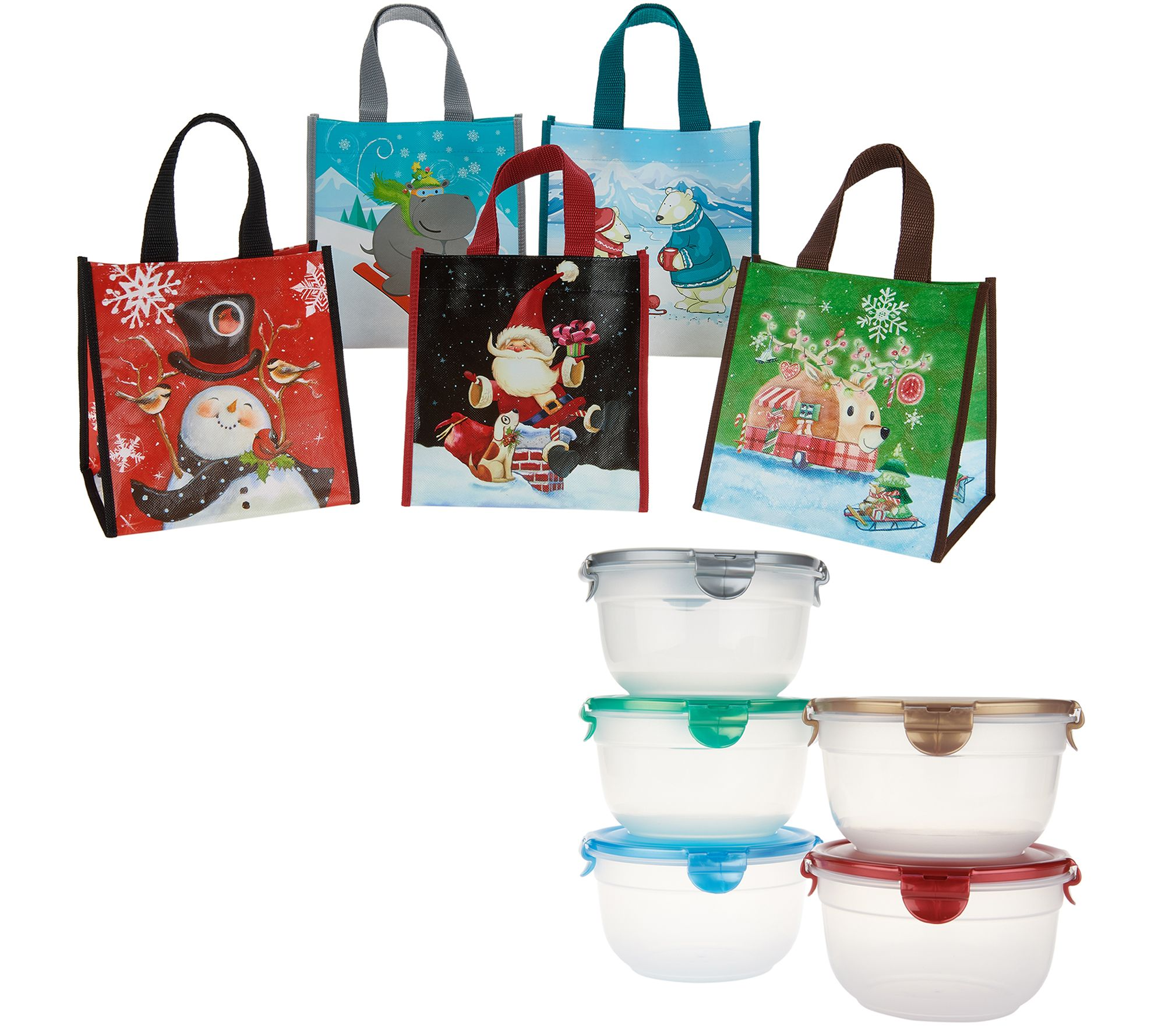Lock & Lock Set of 5 Bowls with Holiday Gift Bags - Page 1 ...