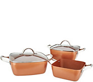 Copper Chef 3 Square Casseroles with 2 Lids - K47125