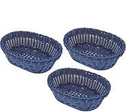 Lock & Lock Set of 3 Dishwasher-Safe Oval Baskets - K47525