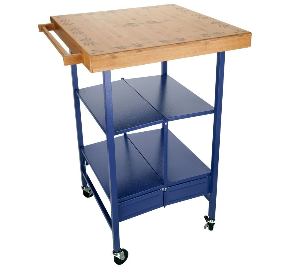 Beau Temp Tations Old World Bamboo Top Folding Kitchen Cart   Page 1 U2014 QVC.com