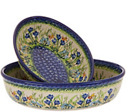 Lidias Polish Pottery Hand-Painted S/2 Nesting Oval Bakers - K46732