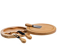 Denmark 4-Piece Round Wood Cheese Set with Turning Drawer - K377635