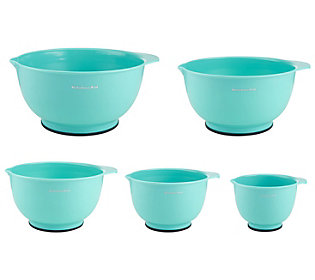 KitchenAid 5-Piece Aqua Sky Mixing Bowls