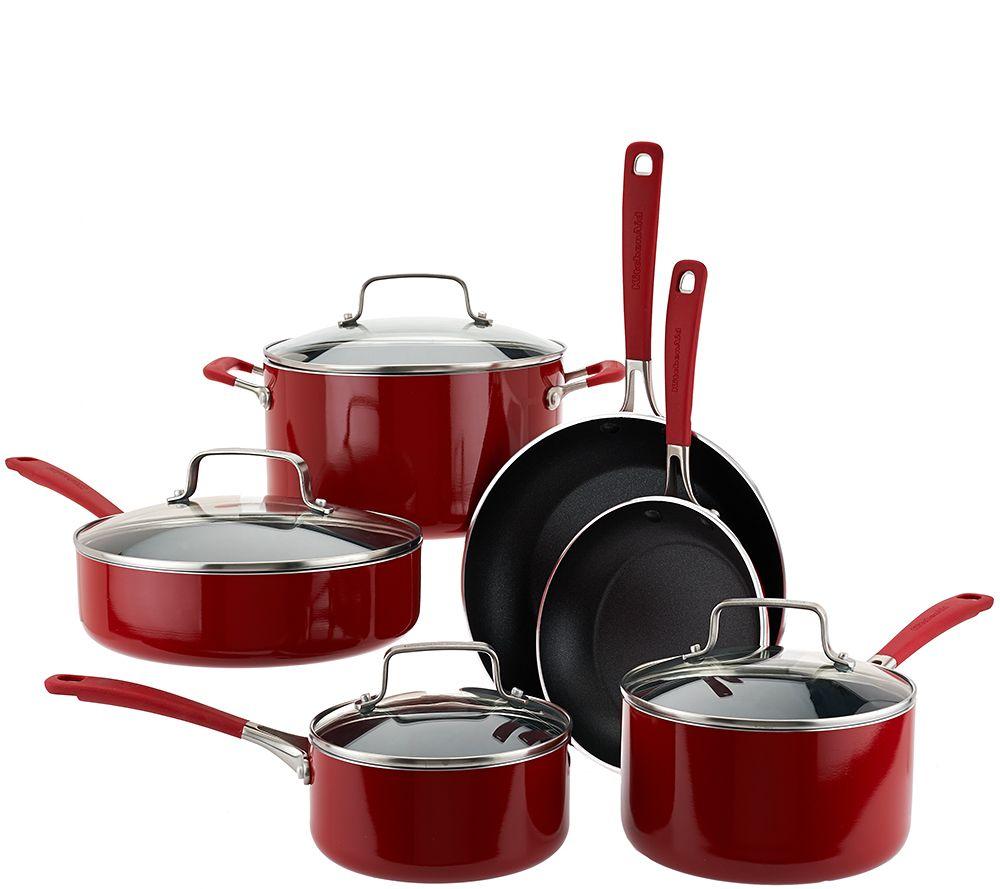 kitchenaid 10 piece aluminum nonstick cookware set page 1 qvc com rh qvc com kitchenaid pots and pans warranty kitchenaid pots and pans set