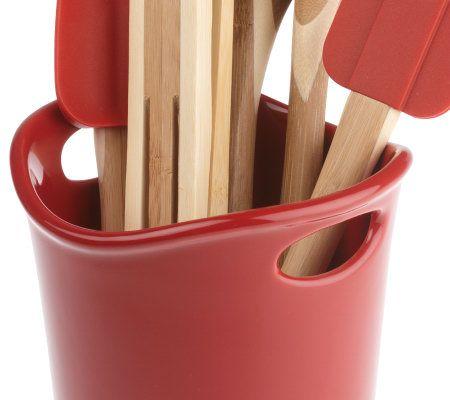 rachael ray stoneware crock with 5 piece bamboo tool set page 1 rh qvc com  rachael ray kitchen utensil set