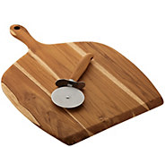 Anolon Pantryware Teak Wood Pizza Peel and Pizza Cutter Set - K377041