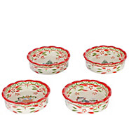 Temp-tations Old World Holiday 4 Mini Pie Plate s with Lids - K378342