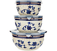 Temp-tations Floral Lace Basketweave Set of 3 Bowls - K47344