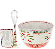 Temp-tations 4.5 qt. Holiday Bowl w/Wire Whisk & Recipe Cards - K42245