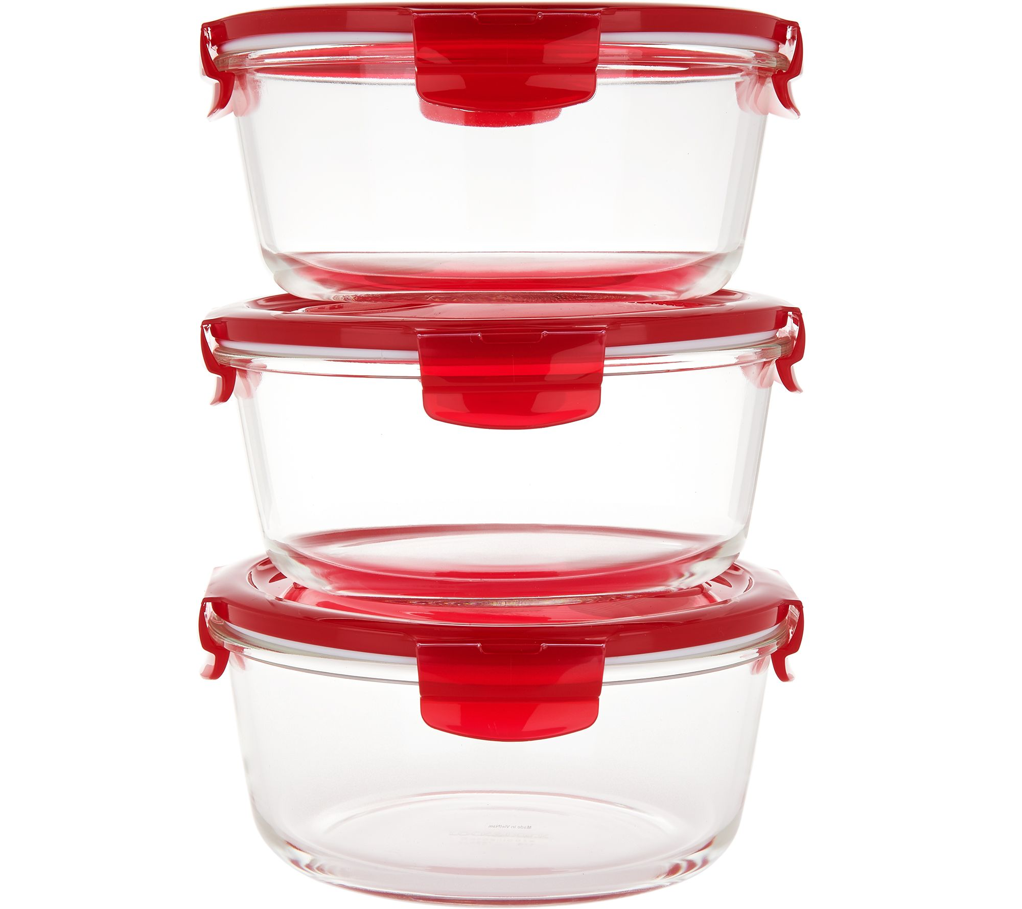 Lock Amp Lock Set Of 3 Vented Glass Bowls Page 1 Qvc Com