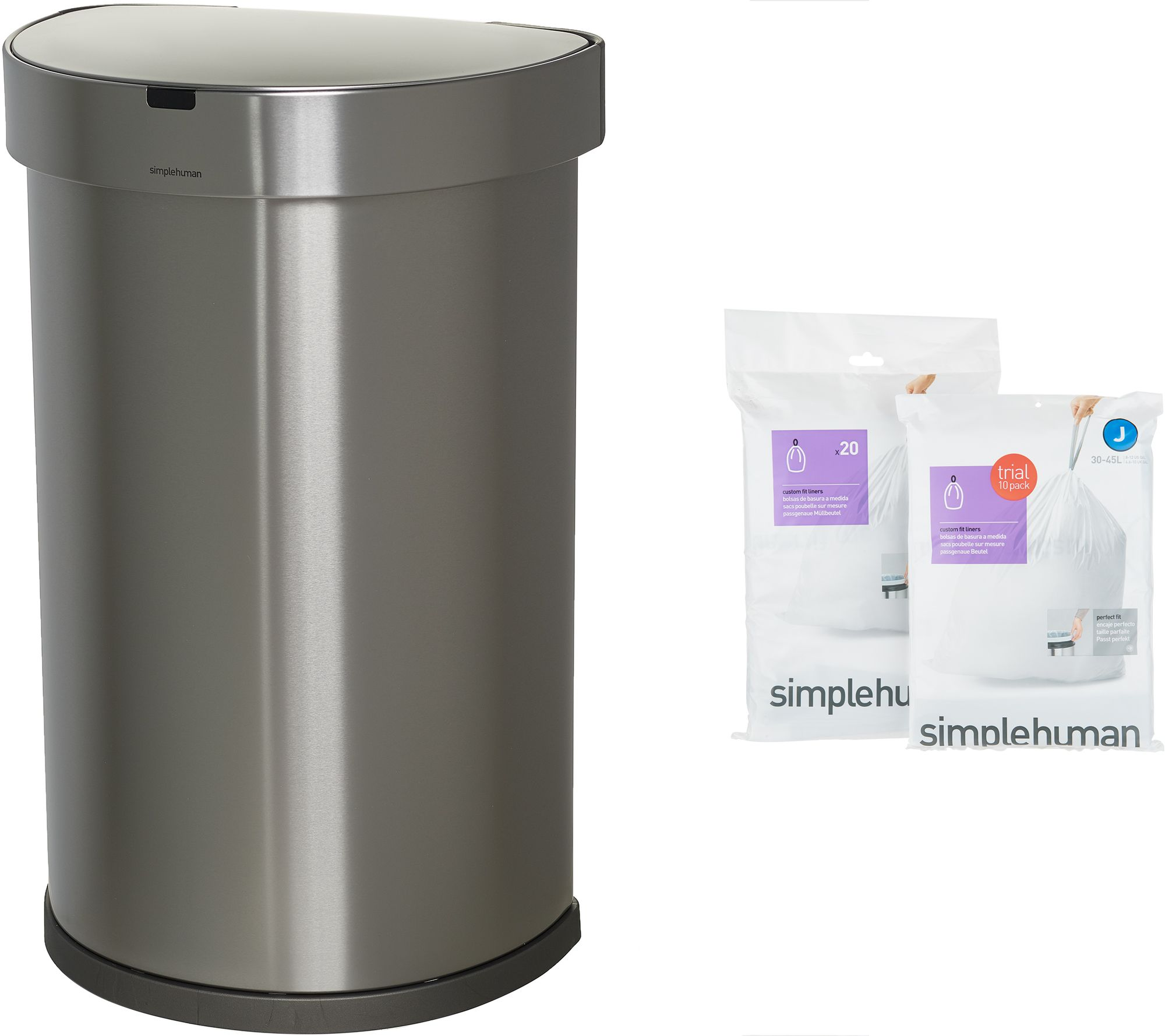 fac9a81c27a154 simplehuman 45 Liter Stainless Steel Sensor Trash Can with Liners - Page 1  — QVC.com