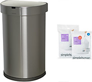 simplehuman 45 Liter Stainless Steel Sensor Trash Can with Liners - K46648